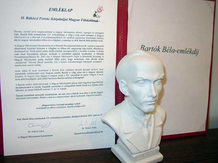 A Főiskola Bartók Emlékdíja